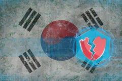 Republiken Korea Sydkorea som hackas, anfallit av en hacker Begrepp för elektronisk säkerhet Arkivbild