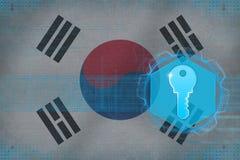 Republiken Korea Sydkorea tillträdestangent handen för grunge för digital effekt för begreppet i lager den glass säkerhetsvektorf Royaltyfri Foto
