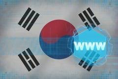 Republiken Korea Sydkorea www world wide web för färgbegrepp för bakgrund blåa internet Arkivfoton