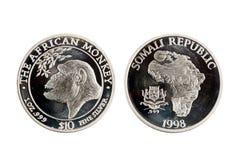 Republiken Somalia 10 dollar 1 uns silvermynt 1998 Royaltyfri Bild