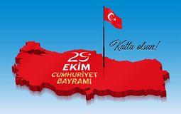 Republiken Turkiet beröm på Oktober 29th över en 3D Turkiet stock illustrationer