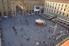 Republikfyrkant i den Florence staden, Italien Royaltyfri Foto