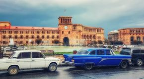 Republikfyrkant, Yerevan, Armenien Royaltyfria Foton