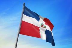 Republiki Dominikańskiej chorągwiany falowanie na niebieskiego nieba 3D ilustracji ilustracja wektor