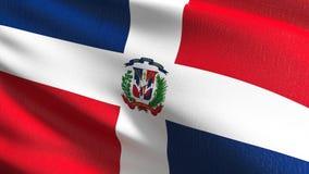Republiki Dominikańskiej flagi państowowej dmuchanie w wiatrze odizolowywającym Oficjalny patriotyczny abstrakcjonistyczny projek ilustracji