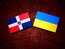 Republiki Dominikańskiej flaga z kniaź flaga na drzewnego fiszorka isol Zdjęcia Stock