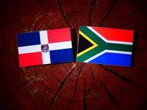 Republiki Dominikańskiej flaga z południe - afrykanin flaga na drzewnym fiszorku Fotografia Royalty Free