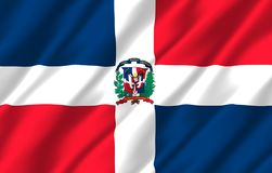 Republiki Dominikańskiej realistyczna chorągwiana ilustracja ilustracja wektor