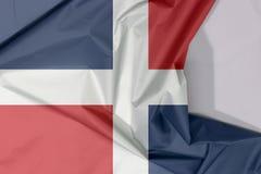 Republiki Dominikańskiej tkaniny flagi zagniecenie z biel przestrzenią i krepa ilustracji