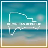 Republiki Dominikańskiej mapy szorstki kontur przeciw Zdjęcie Stock