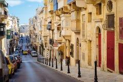 Republiki ulica w ranku, Valletta Zdjęcie Stock