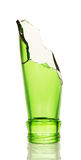 Repulsed the neck green bottle isolated on white background. stock photography