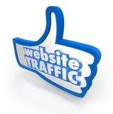 Reputación en línea de los visitantes ascendentes del aumento del pulgar del tráfico del sitio web Fotografía de archivo