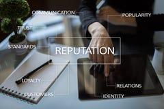 Reputaci i klienta związku biznesowy pojęcie na wirtualnym ekranie obraz royalty free