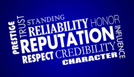Reputaci zaufania wiarygodności szacuneku słowa kolaż ilustracja wektor