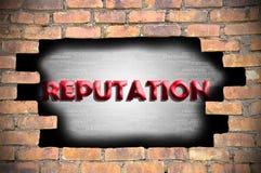Reputatie in het gat van bakstenen muur Royalty-vrije Stock Foto