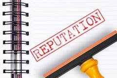 Reputatie rubberzegel op het notaboek Stock Foto