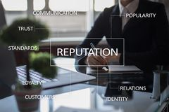 Reputation and customer relationship business concept on virtual screen Stock Photos