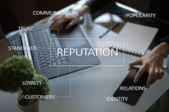 Reputation and customer relationship business concept on virtual screen royalty free stock photos