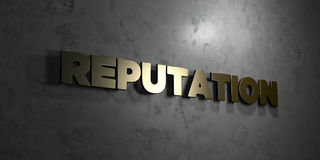 Reputation - Gold text on black background - 3D rendered royalty free stock picture. This image can be used for an online website banner ad or a print postcard Royalty Free Stock Images