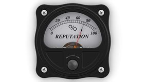 Reputation indicator in action. The analog indicator is showing the level of REPUTATION in percentages. Footage video stock illustration