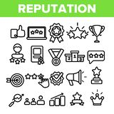 Reputation Linear Vector Thin Icons Symbol Set vector illustration
