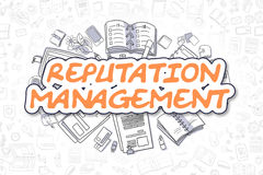 Reputation Management - Business Concept. Reputation Management - Sketch Business Illustration. Orange Hand Drawn Word Reputation Management Surrounded by Stock Photo