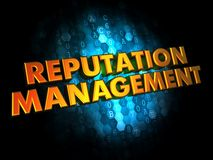 Reputation Management Concept on Digital Background. Reputation Management Concept - Golden Color Text on Dark Blue Digital Background Stock Image