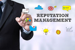 REPUTATION MANAGEMENT CONCEPT. Man hand stock image