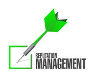 Reputation management dart check mark illustration. Design over a white background stock photography