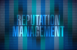Reputation management graphic illustration design. Over a binary background Stock Photography