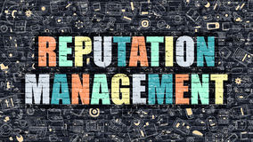 Reputation Management in Multicolor. Doodle Design. Reputation Management Concept. Reputation Management Drawn on Dark Wall. Reputation Management in Multicolor Royalty Free Stock Images