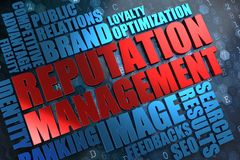 Reputation Management - Red -Blue Wordcloud. Royalty Free Stock Photo