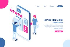 Reputation score isometric concept, opinion with star on mobile phone app, feedback, ux ui desing, application. Development, color isometric flat vector royalty free illustration