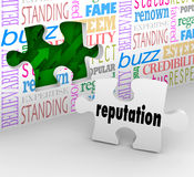 Reputation Wall Trusted Honorable Referral Words. Reputation and related words on a wall with a hole and a piece to provide the solution for building your trust Royalty Free Stock Image