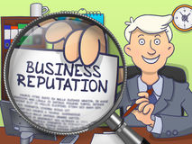 Reputazione di affari tramite la lente Doodle lo stile illustrazione vettoriale