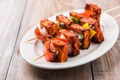 Requesón asado a la parrilla o también conocido como paneer del kebab de Paneer Tikka o del paneer o de los chiles del chile o pa foto de archivo