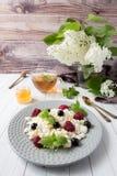 Requesón ruso con las bayas, menta de la miel, foco selectivo, desayuno sano Fotos de archivo libres de regalías