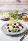 Requesón ruso con las bayas, menta de la miel, foco selectivo, desayuno sano Imagen de archivo