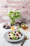 Requesón ruso con las bayas, menta de la miel, foco selectivo, desayuno sano Imágenes de archivo libres de regalías