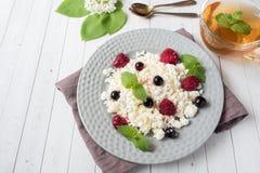 Requesón ruso con las bayas, menta de la miel, foco selectivo, desayuno sano Foto de archivo libre de regalías
