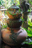 Request an ancient rare. Ancient pottery in garden at home stock photography