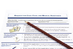 Request for cash food and medical assistant application form Royalty Free Stock Photography