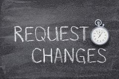 Request changes watch. Request changes phrase written on chalkboard with vintage precise stopwatch stock photo
