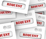 Request Envelope Pile Mail Delivery Customer Asking Jobs Tasks. Request word on envelopes in a pile as customers or companies asking for information or jobs or Royalty Free Stock Photography