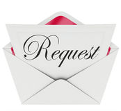 Request Envelope Word Note Letter Asking for Help. Request word on a note or letter in an open envelope to illustrate asking for help, support, assistance or vector illustration