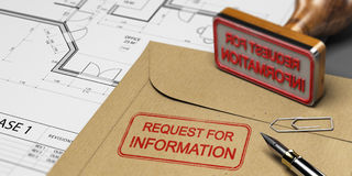Request for Information in Construction, RFI. Request for information printed on a kraft envelop, with office supplies, rubber stamp and blueprint, RFI and Royalty Free Stock Photos