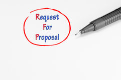 Request for Proposal - Business Concept. Request for proposal written on white paper - Business Concept Stock Photo