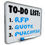 Request for Proposal RFP Quote Purchase To Do List Dry Erase Boa. RFP, quote and purchase words written on a dry erase board to do list to remind you to answer a Stock Photo