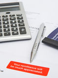 Request for quick payment: overdue account ?. A macro image with selective focus on a statement with a red label reminding the recipient to pay the bill promptly Royalty Free Stock Photo